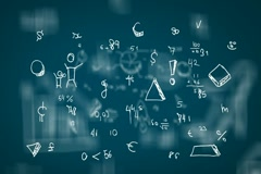 Hand-Drawn Numbers - Background Loop - Symbols and drawings - Blue Stock Footage