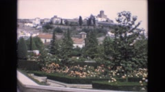 1969: beautiful place landmark green trees flowers house amazing view SPAIN Stock Footage