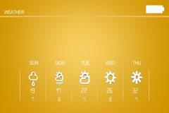 High Tech - Weather Forecast - Code - Sunny - Rain - Thunder - Yellow 02 Stock Footage