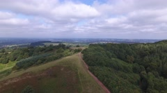 Aerial view flying backwards over the Clent Hills. Stock Footage