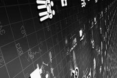 Office - Grid of information - digital technology - numbers shifting - whites Stock Footage
