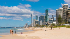 4k timelapse video of a beach in Gold Coast, Australia Stock Footage