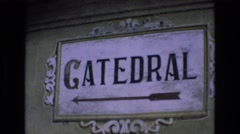 1969: ornamental plaque pointing the way Stock Footage
