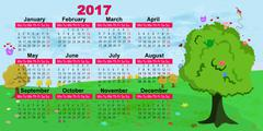 Calendar for the year 2017. Kids fun style. Magical forest Stock Illustration