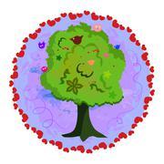 Magic tree with singing birds. Love Stock Illustration