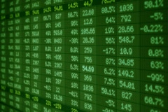 Stock Market - Financial  Numbers - Digital Led - Screen - dark green - right Stock Footage