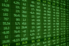 Stock Market - Financial  Numbers - Digital Led - Screen - dark green -Left Stock Footage