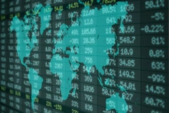 Stock Market - Financial  Numbers - Digital Led - World Map - blue  - right Stock Footage