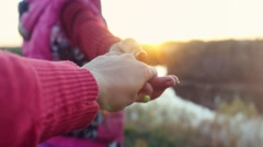 Follow me, young happy people go through a field at sunset, slow motion with Stock Footage