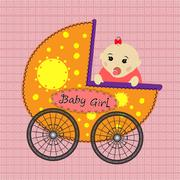 Baby in stroller. A cute little girl Stock Illustration