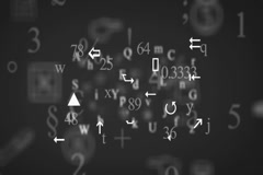 Trembling letters and signs - Background Loop - Symbols and drawings - Grey Stock Footage