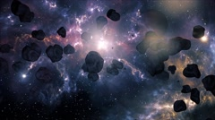 4K Asteroid Field in Outer Space Galaxy 2 Stock Footage