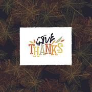 Give Thanks Postcard. Happy Thanksgiving greeting card design Stock Illustration
