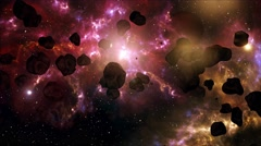 4K Asteroid Field in Outer Space Galaxy 4 Stock Footage