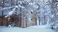 House in the Forest and Snowfall. Seamless Loop Stock Footage