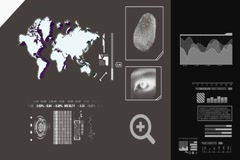World Map scanning - 3d rotation - advanced scanning - information - grey - d Stock Footage