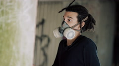 4K Close up portrait of masked graffiti artist at work Stock Footage