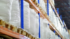 Large grain warehouse packaged in bags Stock Footage