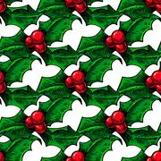 Christmas mistletoe, holly berry with leaves seamless pattern. H Stock Illustration