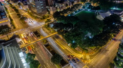 Nighttime Traffic Timelapse & Aerial View of Hong Lim Park in Singapore Stock Footage