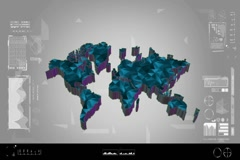 Fragments - Flipping 3d map - worldwide scan - graphic design - blue Stock Footage