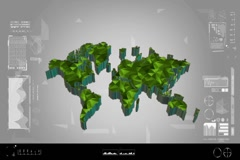 Fragments - Flipping 3d map - worldwide scan - graphic design - green Stock Footage