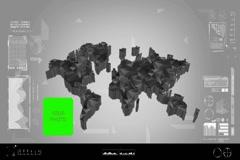 Fragments - Flipping 3d map - worldwide scan - graphic design - grey - digita Stock Footage