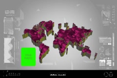 Fragments - Flipping 3d map - worldwide scan - graphic design - pink - digita Stock Footage