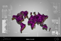 Fragments - Flipping 3d map - worldwide scan - graphic design - pink Stock Footage