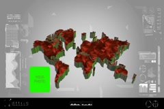 Fragments - Flipping 3d map - worldwide scan - graphic design - red - digital Stock Footage