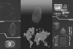 Global Research - white data - high tech display - scanning - grey Stock Footage