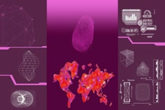 Global Research - white data - high tech display - scanning - pink Stock Footage