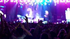 Mobile phone does video rock concert, the Gadget filmed scene with bright Stock Footage