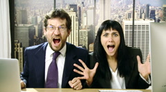 Business people screaming in office angry slow motion Stock Footage