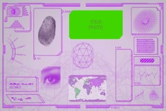 Interface - 80s style - world scanning - moderator - monitor - pink Stock Footage