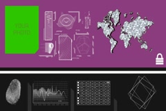 Vector Animation - World Analysis - travel details - close-up info - purple - Stock Footage