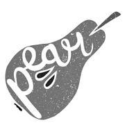 Pear Fruit Written In Its Silhouette Stock Illustration