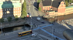 View of Road Junction next to Christiansborg Palace in Copenhagen Stock Footage