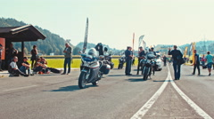 Highway and motorized police escort at the European Bike Week Stock Footage