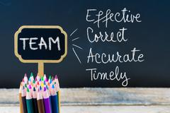 Business Acronym TEAM Effective Correct Accurate Timely written with chalk on Stock Photos