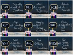 Photo collage of business acronyms written with chalk on wooden mini blackboa Stock Photos