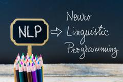Business Acronym NLP Neuro Linguistic Programming written with chalk on woode Stock Photos