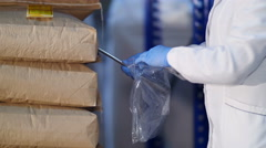 Inspector takes a sample of the grain in stock - millet in bags Stock Footage