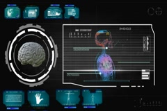 Brain - Focus Monitor - blue 01 Stock Footage