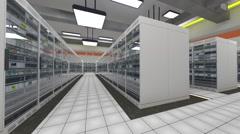 Data Center Server Room Cluster Farm 3D Animation 7 Stock Footage