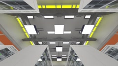 Data Center Server Room Cluster Farm 3D Animation 9 Stock Footage