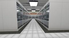 Data Center Server Room Cluster Farm 3D Animation 10 loop Stock Footage