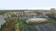 Aerial view of business park in the Autumn. Stock Footage