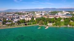 4K Aerial footage of Geneva city  in Switzerland -UHD Stock Footage