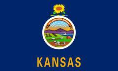 Flag of Kansas correct size color illustration Stock Photos